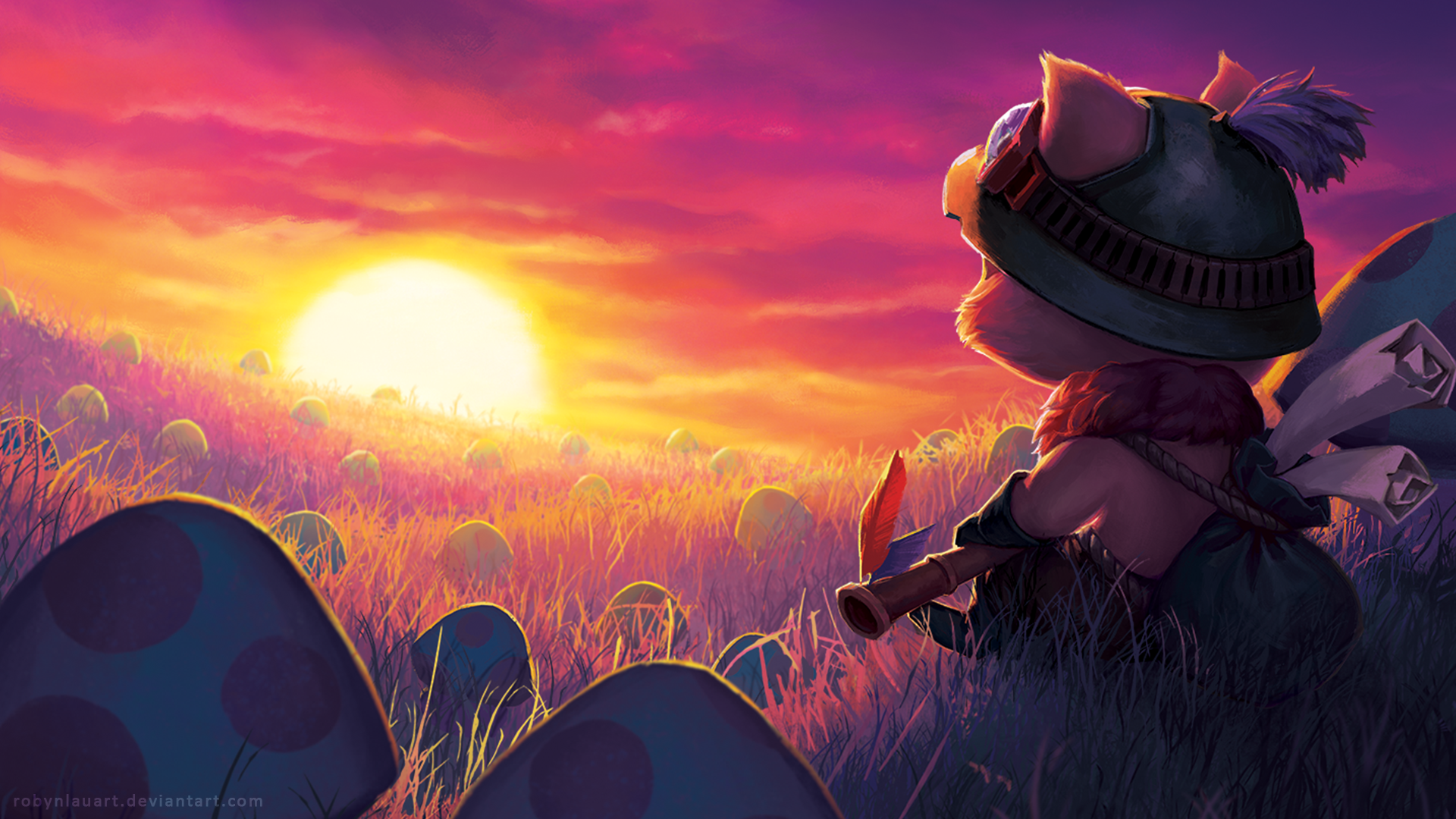 Videojuego - League Of Legends  Champiñón Campo Atardecer Teemo (League Of Legends) Fondo de Pantalla