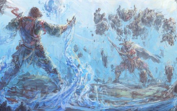 Fantasy Samurai Fight Warrior Magic HD Wallpaper | Background Image