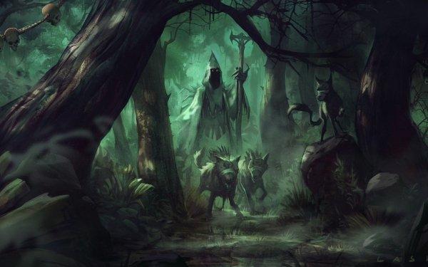 Fantasy Dark Forest Wolf Mage HD Wallpaper   Background Image