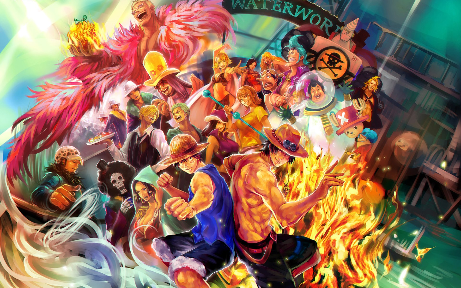Anime - One Piece  Franky (One Piece) Donquixote Doflamingo Trafalgar Law Portgas D. Ace Usopp (One Piece) Brook (One Piece) Tony Tony Chopper Nico Robin Nami (One Piece) Sanji (One Piece) Zoro Roronoa Monkey D. Luffy Wallpaper