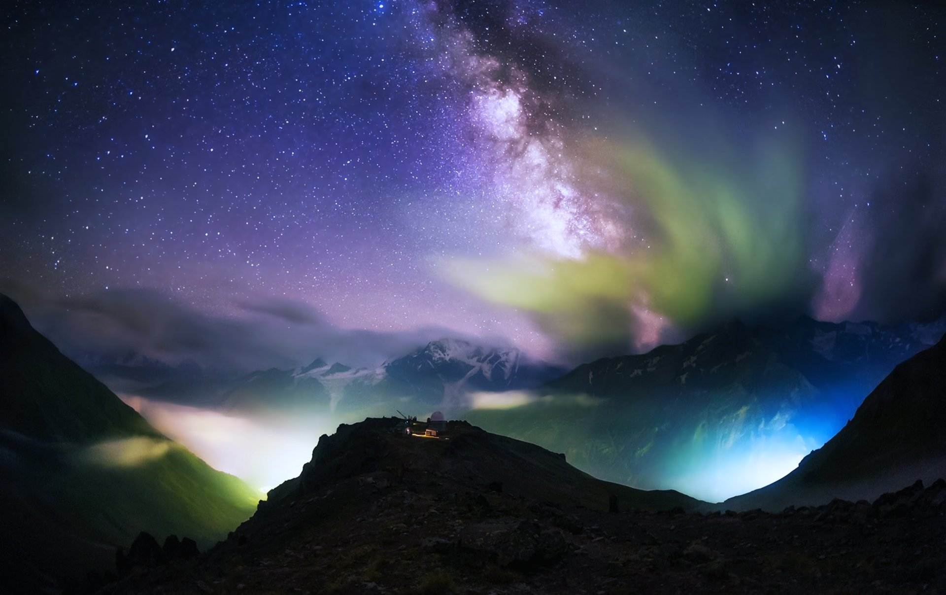 Sci Fi - Milky Way  Galaxy Sky Stars Sci Fi Mountain Colorful Cloud Landscape Earth Nature Wallpaper