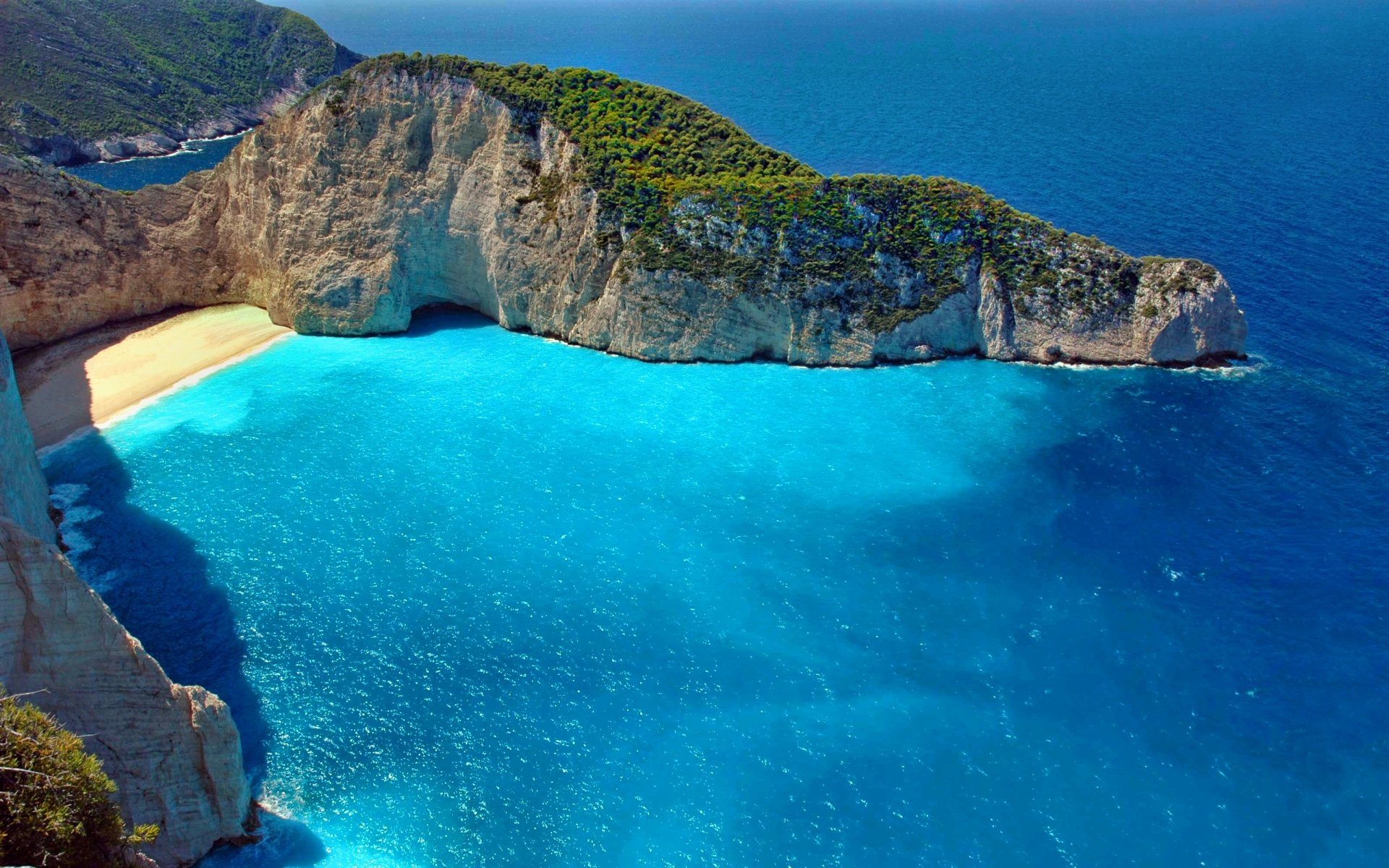 Earth - Cliff  Turquoise Scenic Zakynthos Sunny Beach Wallpaper
