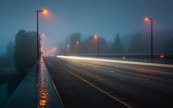 Hecho por el hombre Carretera Calle Street Light Niebla Noche Time-Lapse Fondo de pantalla HD | Fondo de Escritorio