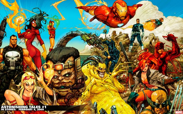 Comics Astonishing Tales Castigador Spider-Woman Iron Man Modok Daredevil Wolverine Fondo de pantalla HD | Fondo de Escritorio