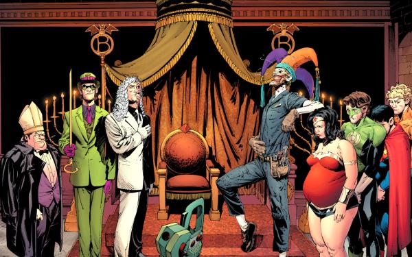Comics Death Of The Family Penguin Riddler Two-Face Joker Wonder Woman Green Lantern Superman Aquaman HD Wallpaper | Background Image