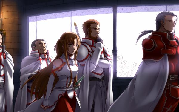 Anime Sword Art Online Asuna Yuuki Heathcliff Daizen Kuradeel Godfree Brown Hair Grey Hair Armor HD Wallpaper | Background Image