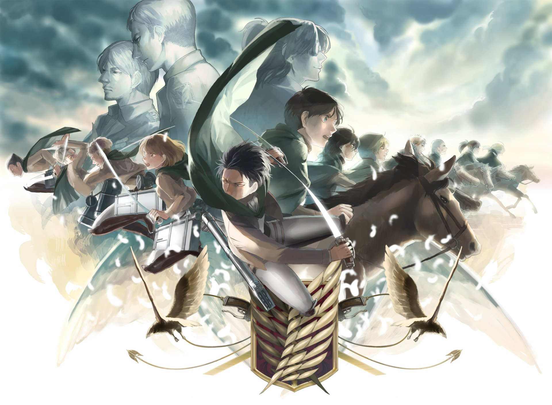 Anime - Attack On Titan  Erwin Smith Hange Zoë Sasha Blouse Historia Reiss Connie Springer Armin Arlert Eld Jinn Oluo Bozado Jean Kirstein Mikasa Ackerman Gunther Schultz Petra Ral Eren Yeager Levi Ackerman Wallpaper