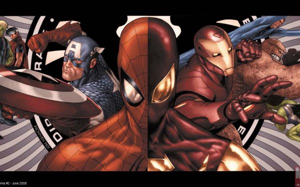 Bande-dessinées Civil War Marvel Comics Iron Man Captain America Thing Spider-Man Fond d'écran HD | Image