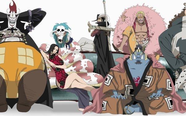 Anime One Piece Shichibukai Crocodile Gekko Moriah Boa Hancock Donquixote Doflamingo Dracule Mihawk Jinbe Bartholomew Kuma HD Wallpaper | Background Image
