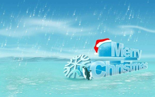 Día festivo Navidad Merry Christmas Pingüino Copo de nieve Santa Hat Fondo de pantalla HD | Fondo de Escritorio