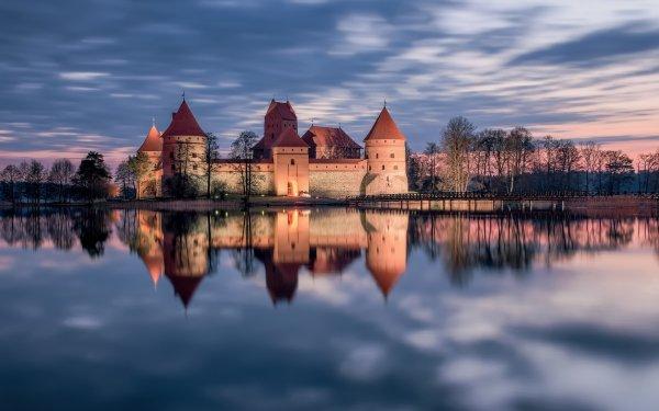 Man Made Trakai Island Castle Castles Sunset Lake Reflection Castle Lithuania HD Wallpaper | Background Image