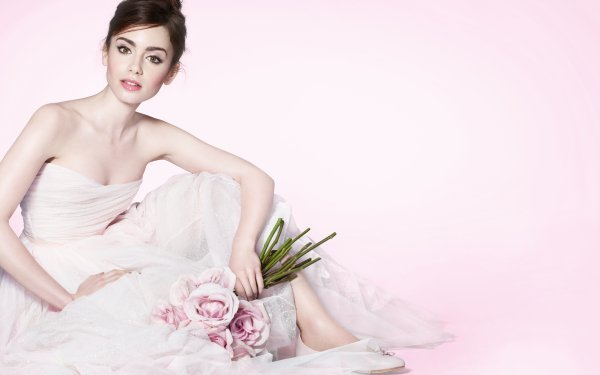 Celebrity Lily Collins Actresses United Kingdom English Actress Brunette Flower HD Wallpaper | Background Image