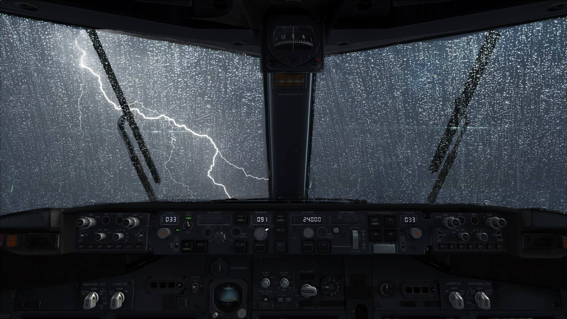 View of a storm from a cockpit full hd wallpaper and for Airplane cockpit wall mural