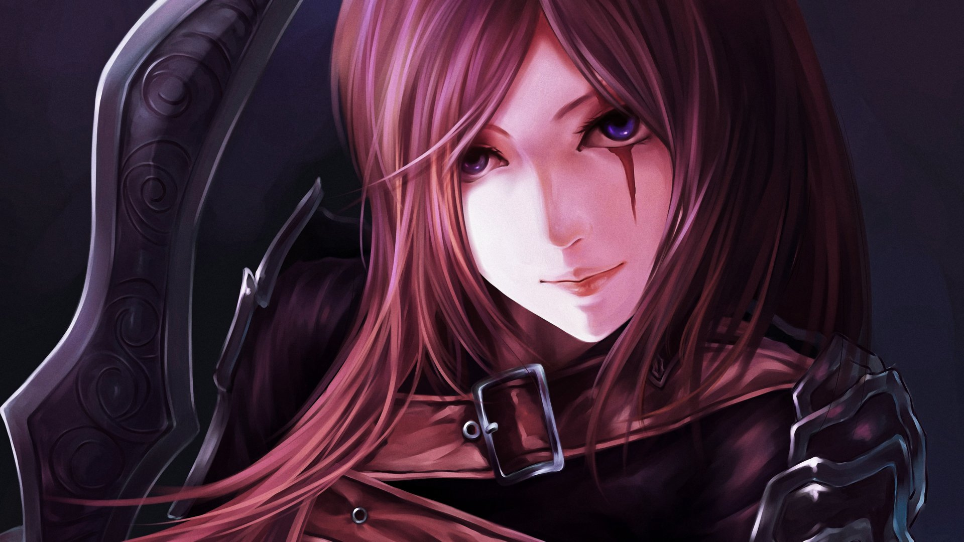 Video Game - League Of Legends  Katarina (League Of Legends) Anime Girl Weapon Blue Eyes Wallpaper