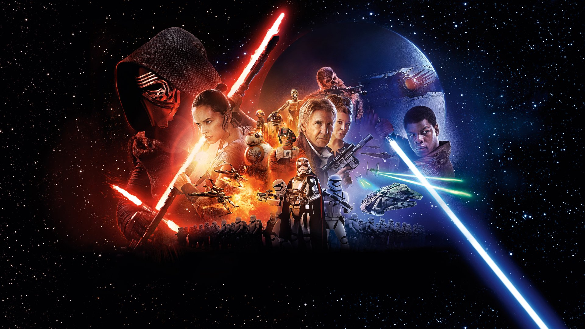 Movie - Star Wars Episode VII: The Force Awakens  Kylo Ren Han Solo Rey (Star Wars) Chewbacca R2-D2 Millennium Falcon Finn (Star Wars) Princess Leia Lightsaber Star Wars Poe Dameron BB-8 Captain Phasma Wallpaper