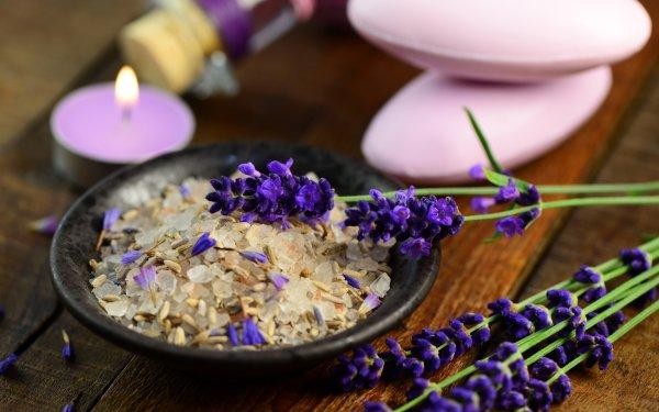 Man Made Spa Candle Flower Salt Lavender Still Life HD Wallpaper   Background Image