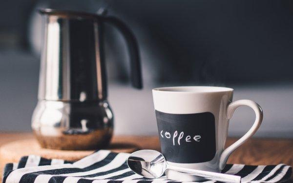 Food Coffee Cup Mug Spoon Black & White HD Wallpaper | Background Image