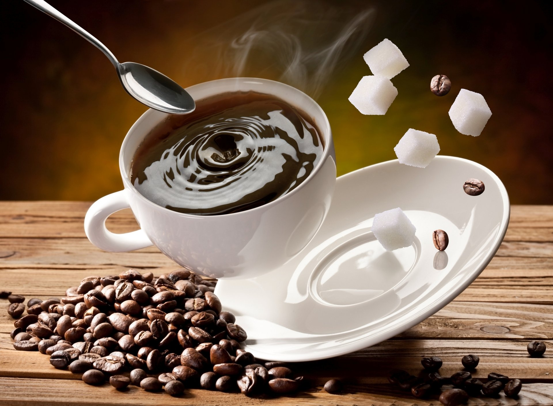Food - Coffee  Cup Sugar Coffee Beans Spoon Wallpaper