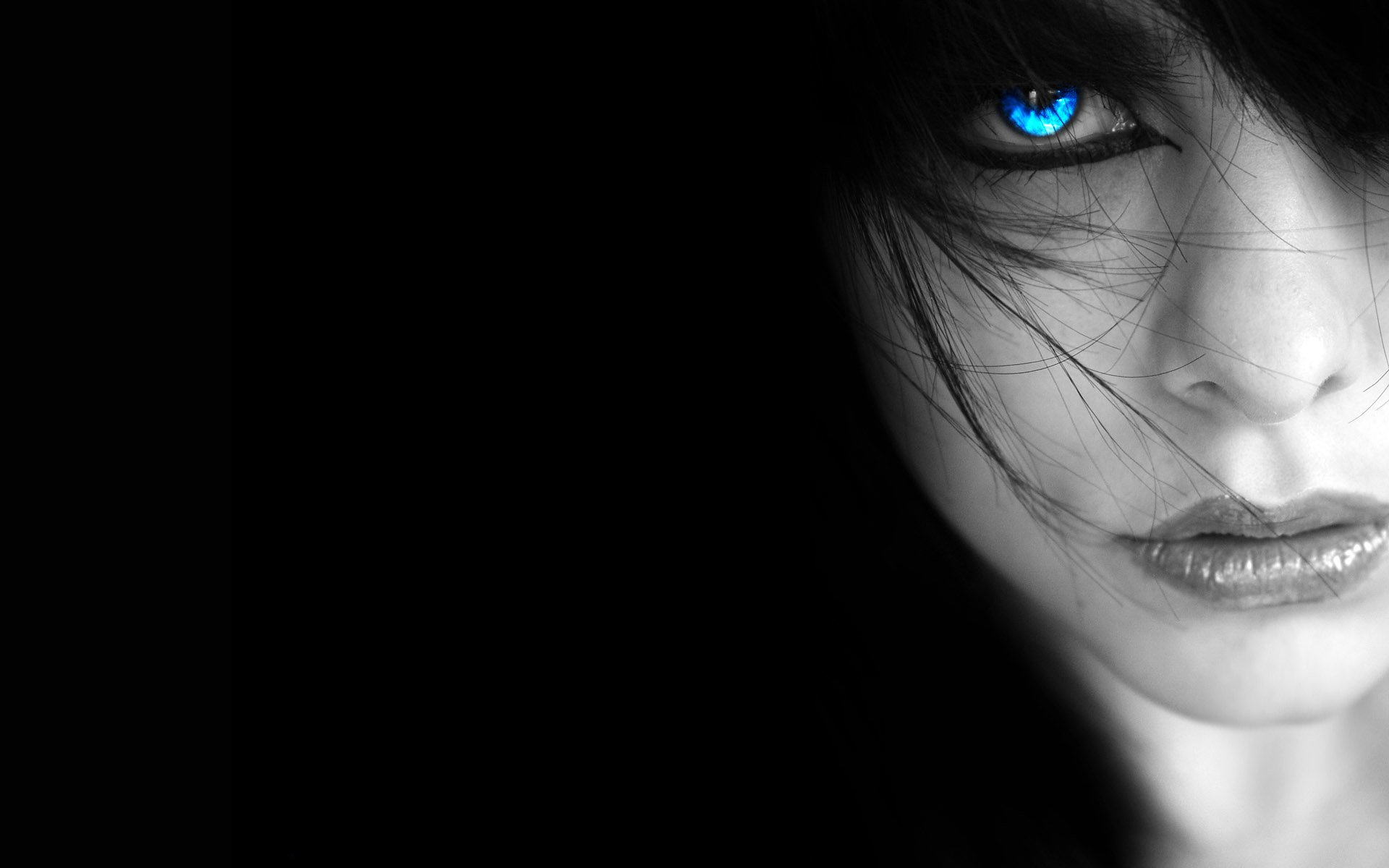Women - Mysterious  Blue Eyes Gothic Dark Wallpaper