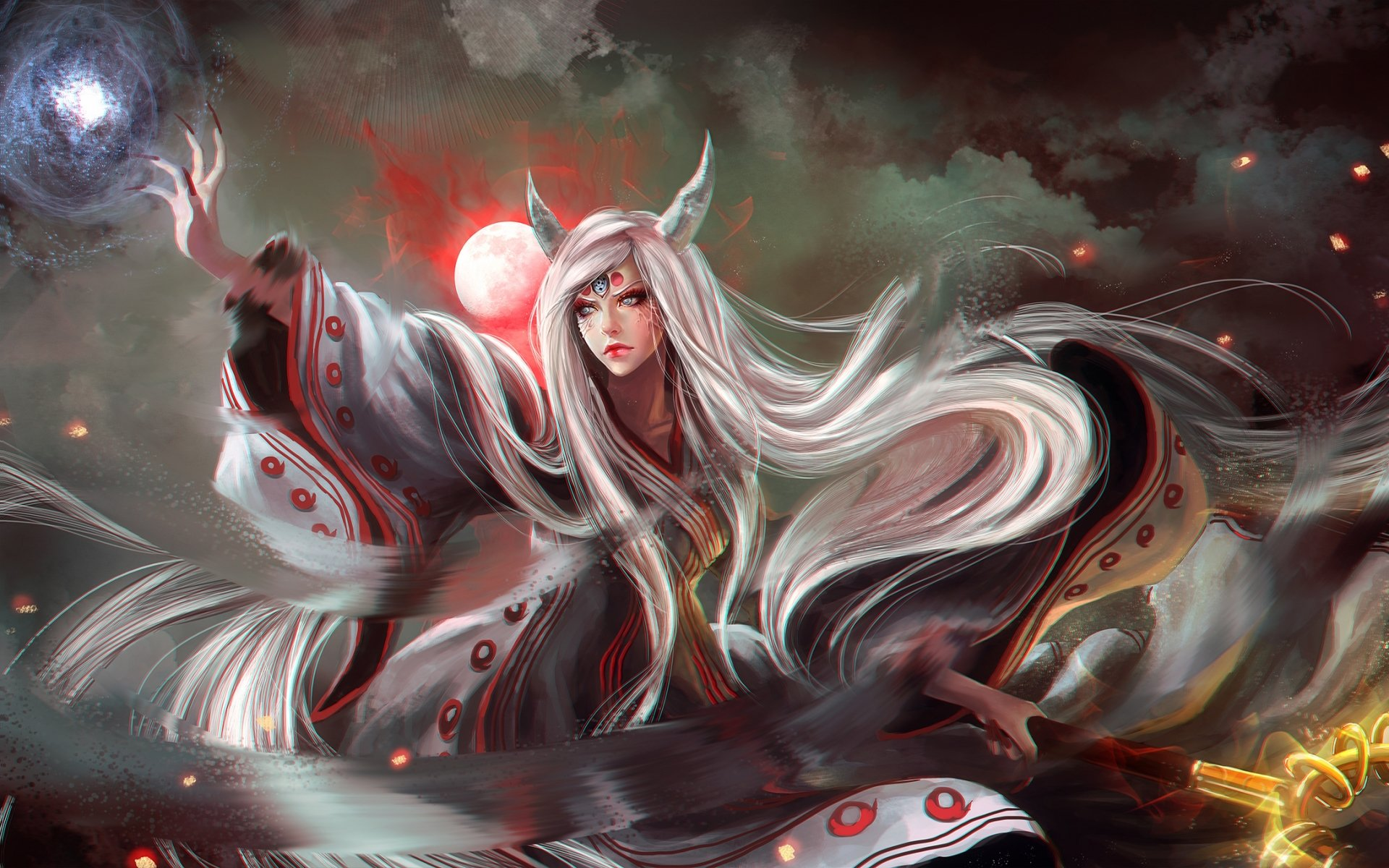 Anime - Naruto  Girl Kaguya Ōtsutsuki Woman Horns Moon Long Hair White Hair Blue Eyes Anime Wallpaper