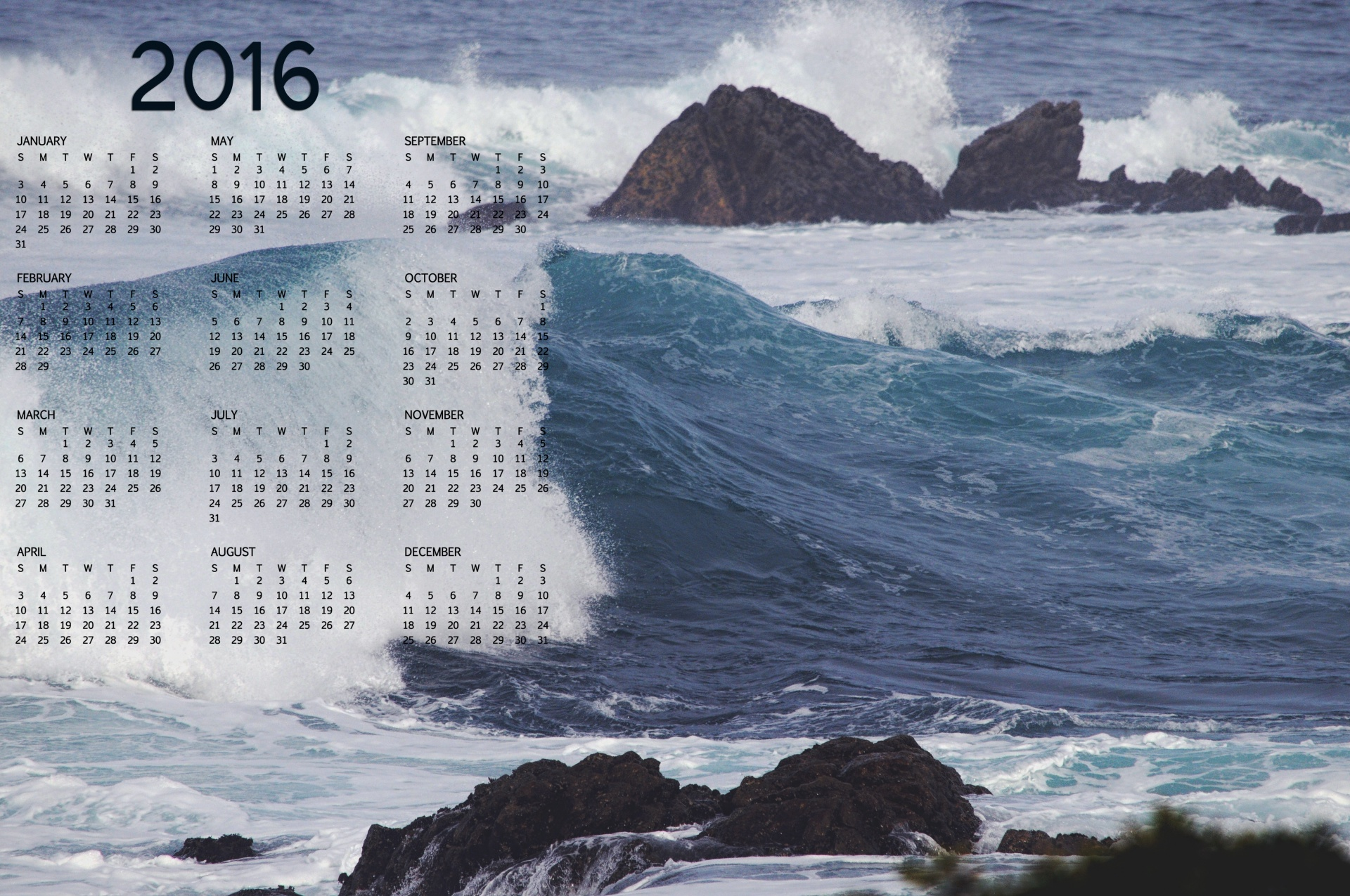 Calendar Background 2016 : Ocean wave calendar full hd wallpaper and background