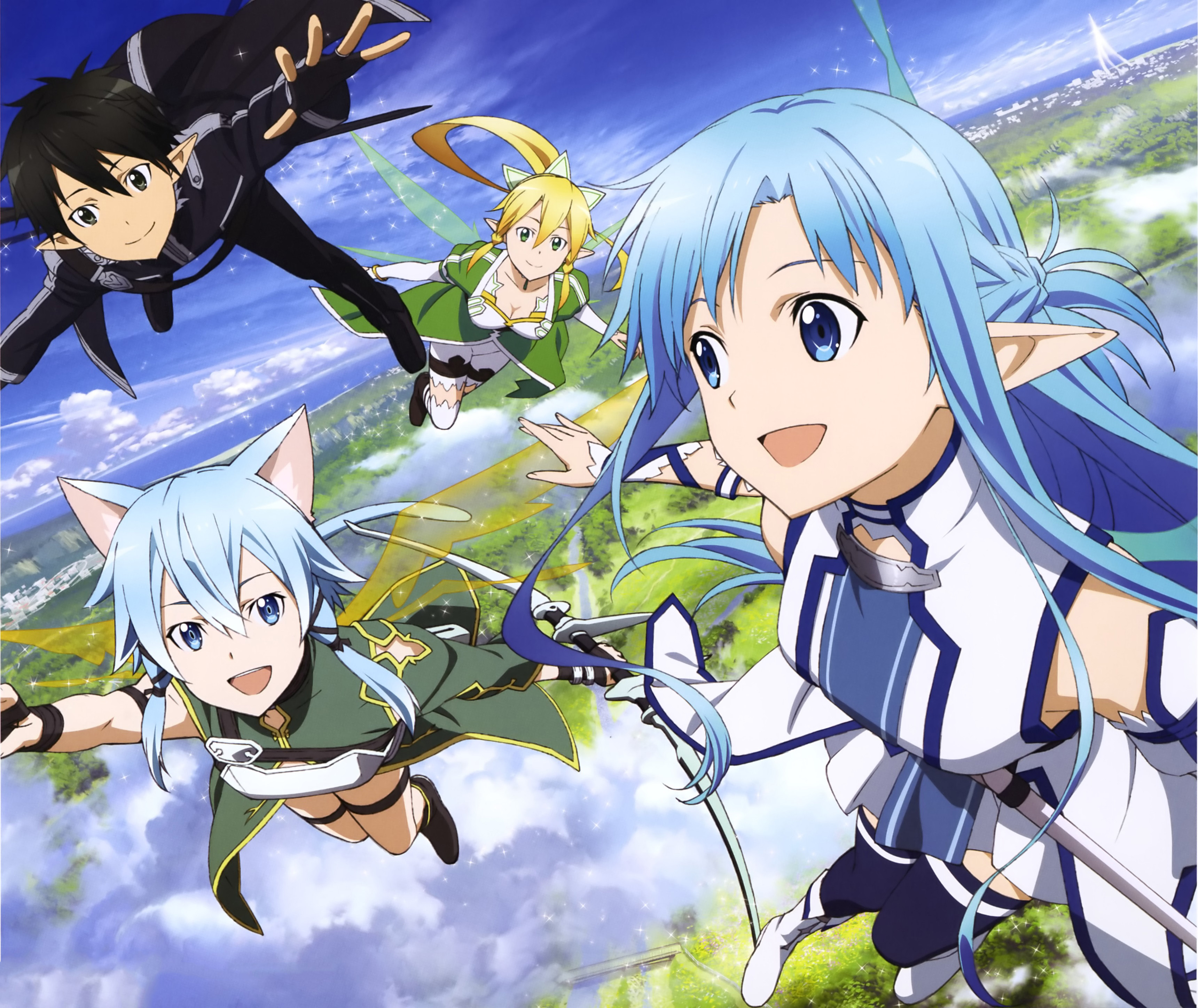 Kirito Sinon Asuna And Leafa HD Wallpaper