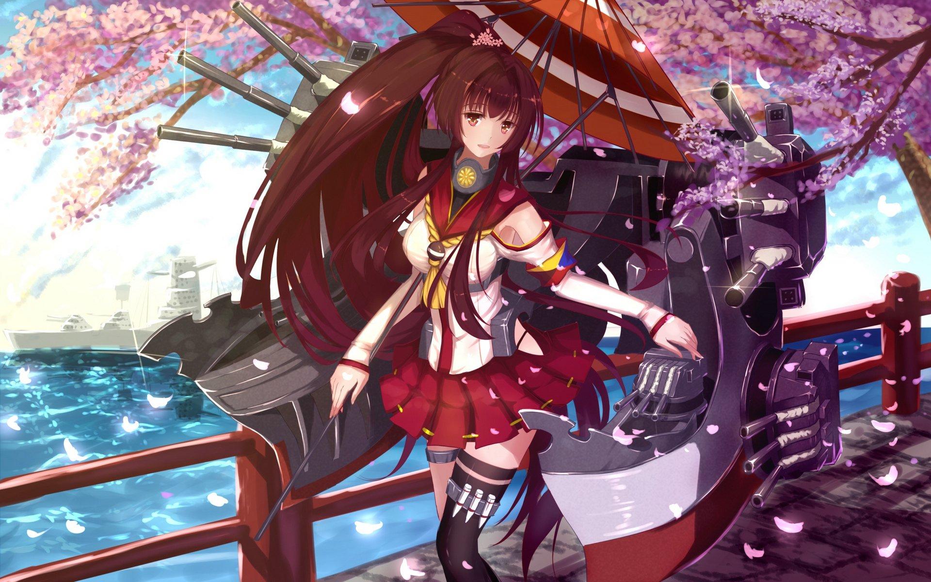 Anime - Kantai Collection  Anime Long Hair Brown Hair Brown Eyes Sakura Blossom Weapon Skirt Yamato (Kancolle) Wallpaper