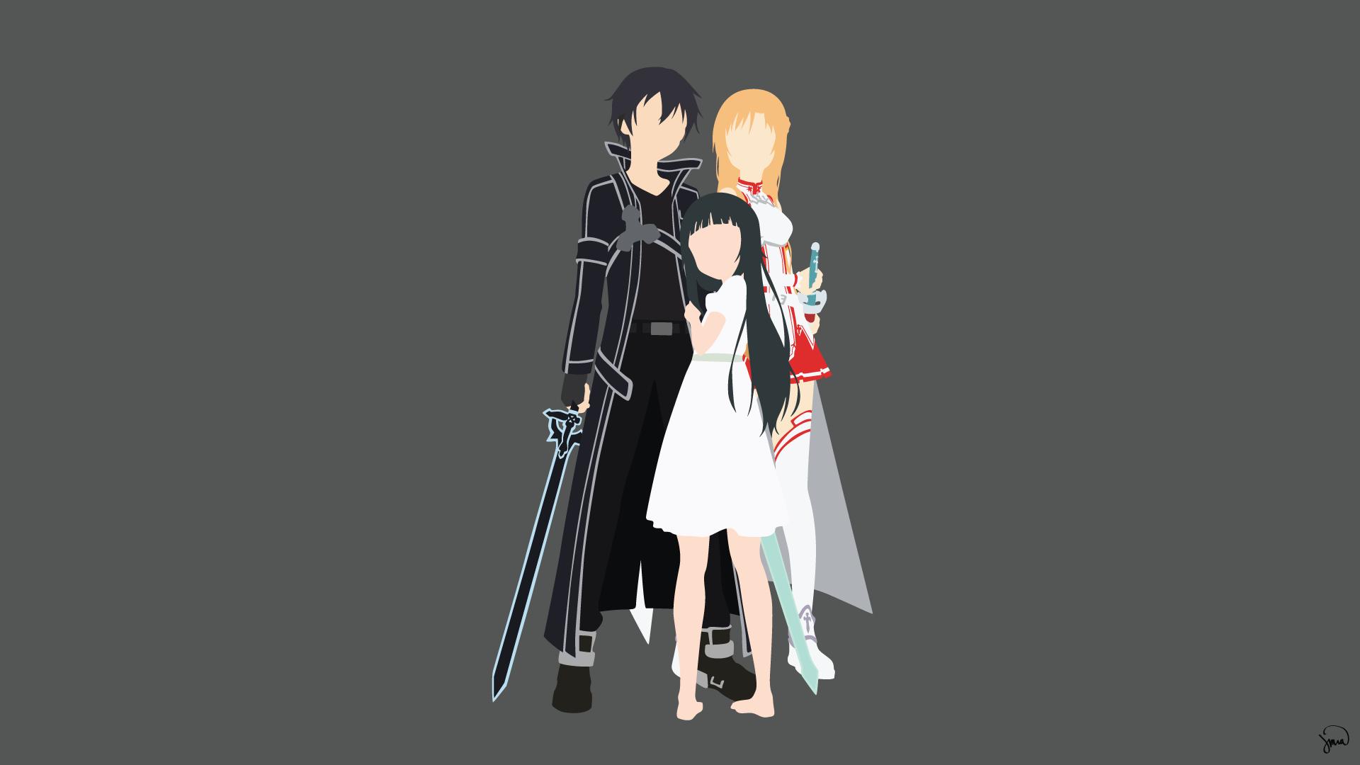 Kirito, Asuna and Yui HD Wallpaper | Background Image ... Sword Art Online Wallpaper 1920x1080 Yui
