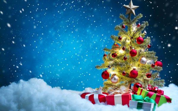 Holiday Christmas Christmas Tree Gift Snow Christmas Ornaments HD Wallpaper | Background Image