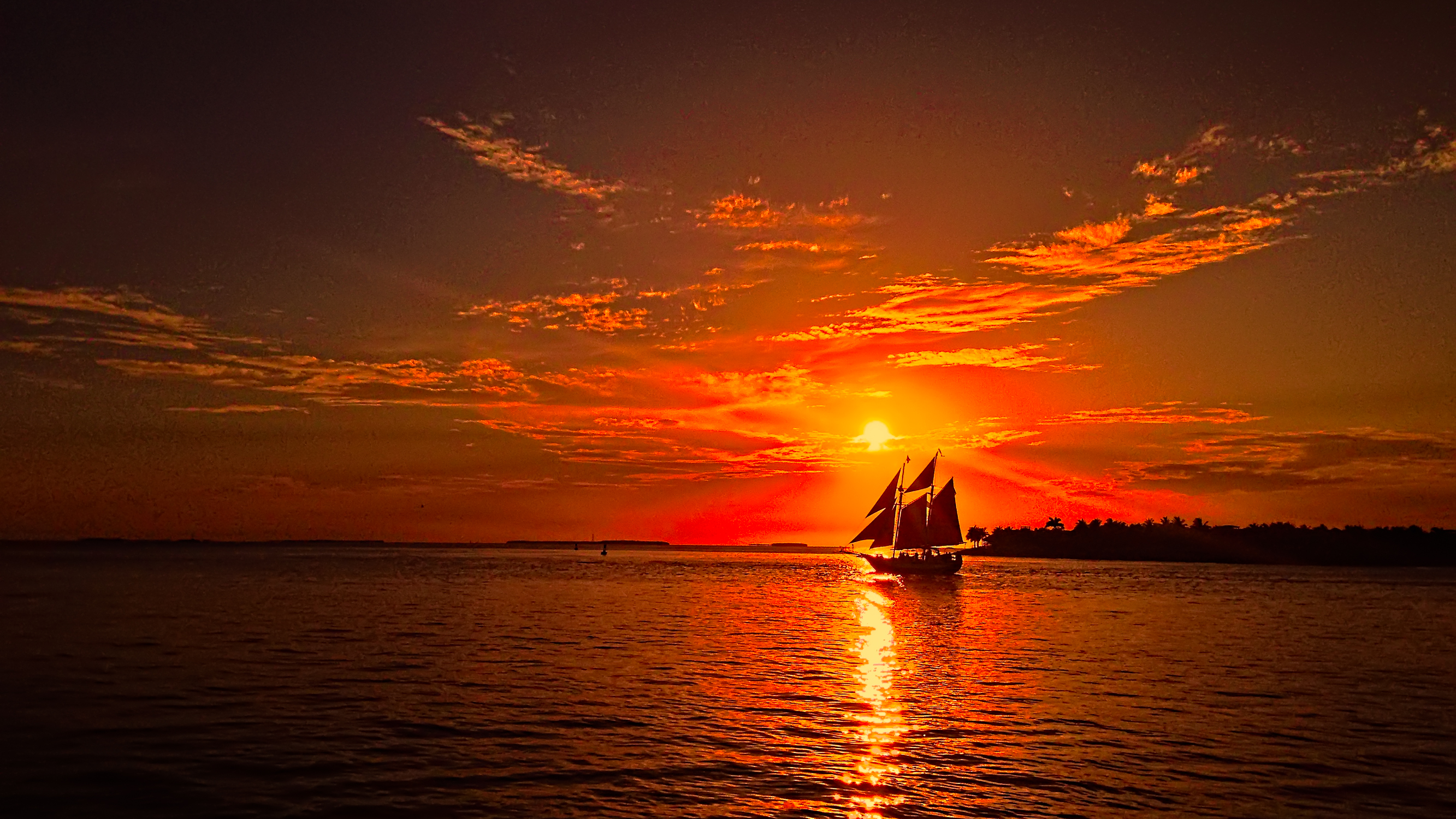 Sailing At Sunset Full HD Wallpaper And Background