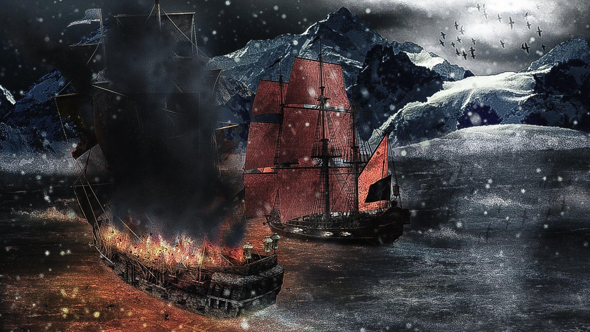 ship pirate sea piratas barcos pirates fondos fantasy sailing ships alegorias wallpapers lost battle battles explosion skull artwork