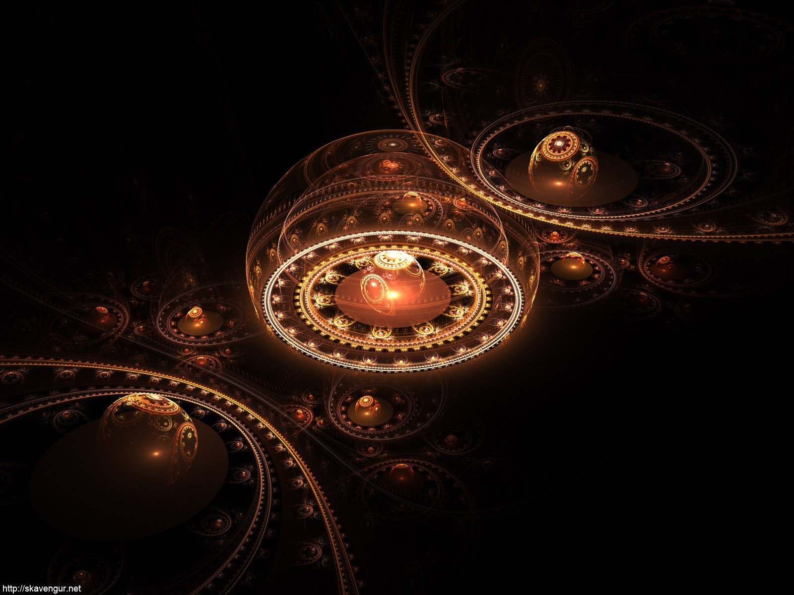 Abstrakt - Orange  Abstrakt Künstlerisch Farben Muster CGI Shapes Steampunk Texture Wallpaper