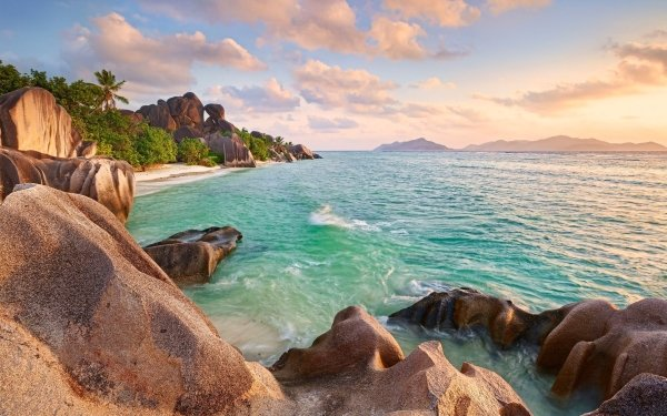 Tierra/Naturaleza Costa Naturaleza Coast Playa Tropico Seychelles Rock Fondo de pantalla HD | Fondo de Escritorio