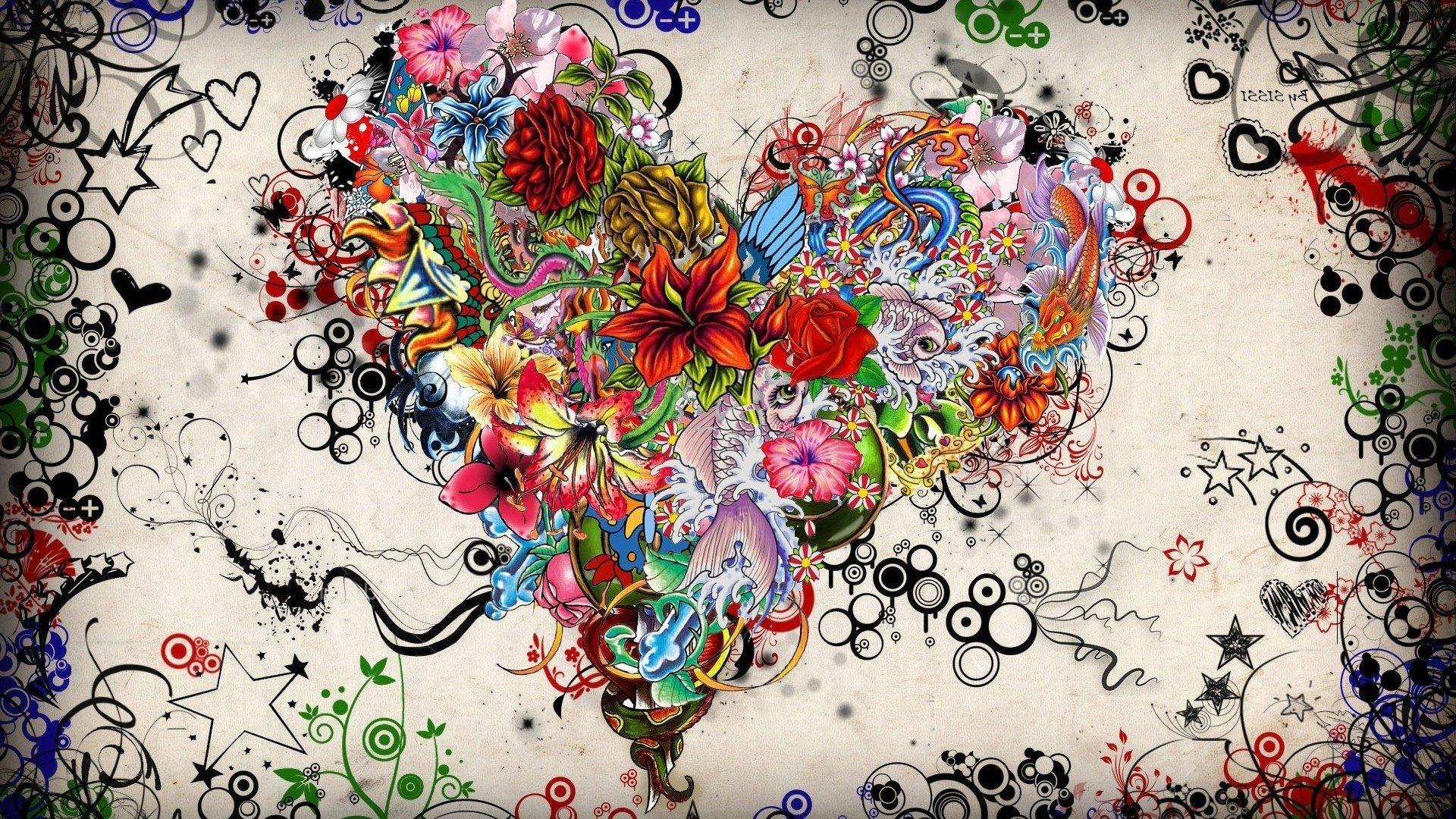 Artistic - Love  Artistic Heart Valentine's Day Drawing Flower Colorful Wallpaper