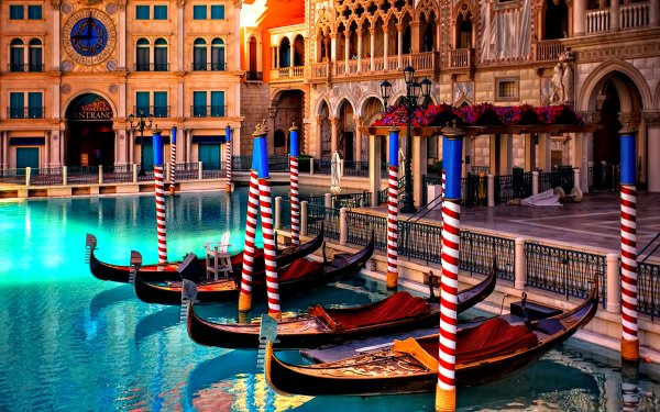 Vehicles Gondola Venice Building Architecture Italy Grand Canal Water HD Wallpaper | Background Image