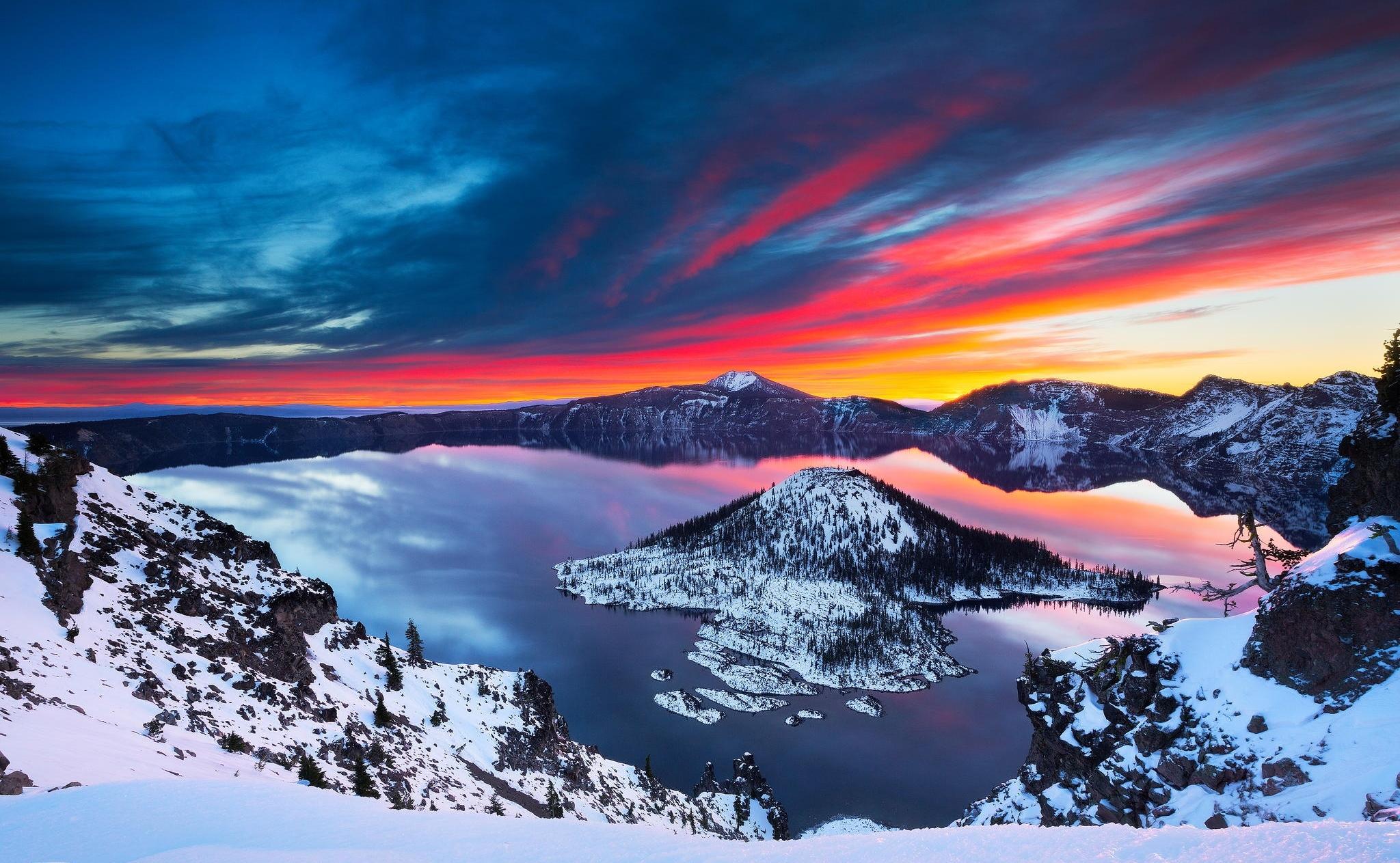 Sunrise over a New Zealand Lake Lakes Nature Background