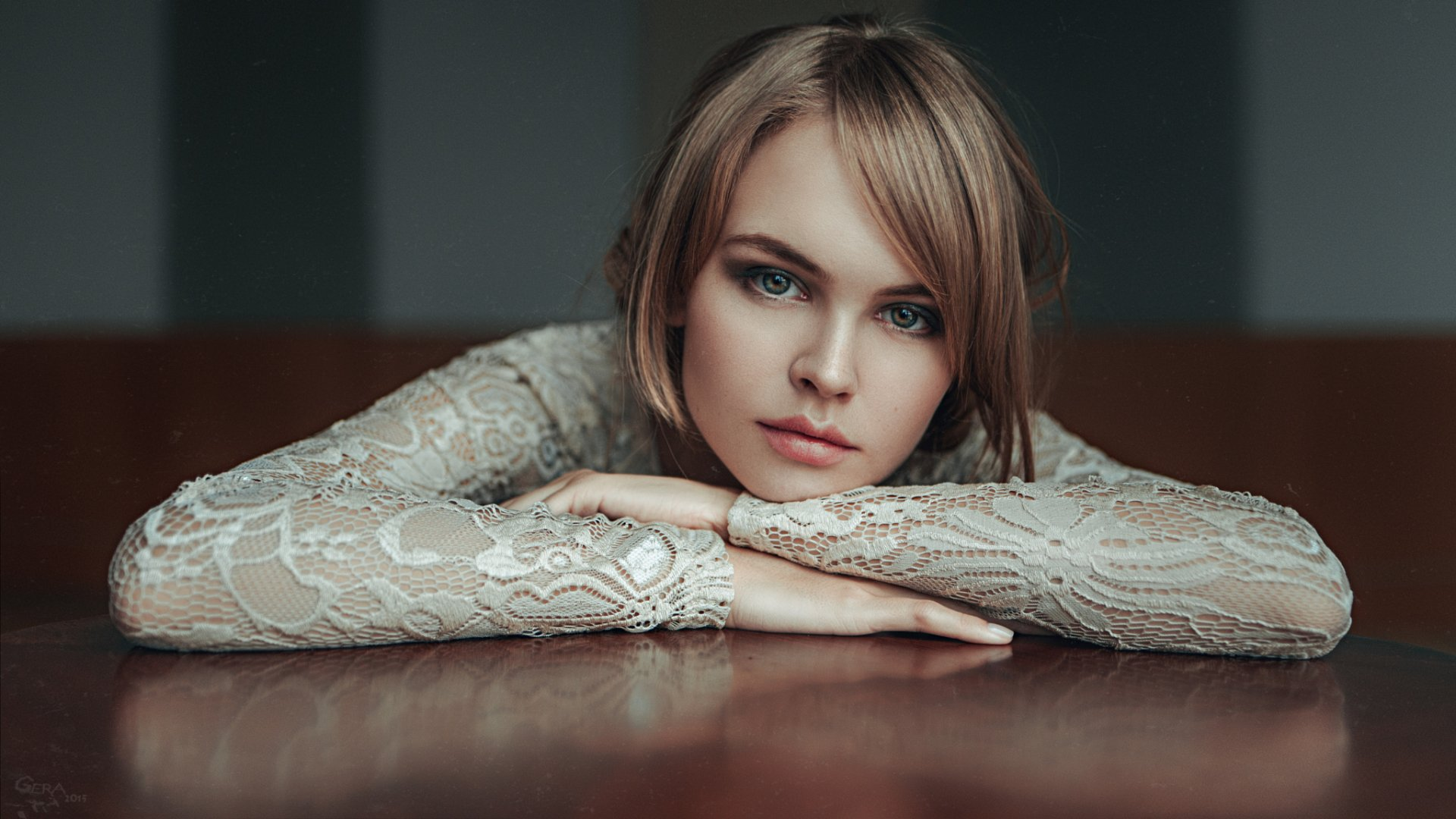 Women - Anastasiya Scheglova  Woman Model Green Eyes Brunette Bokeh Wallpaper