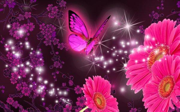 Artistique Fleur Fleurs Daisy Gerbera Papillon Sparkles Fond d'écran HD | Image