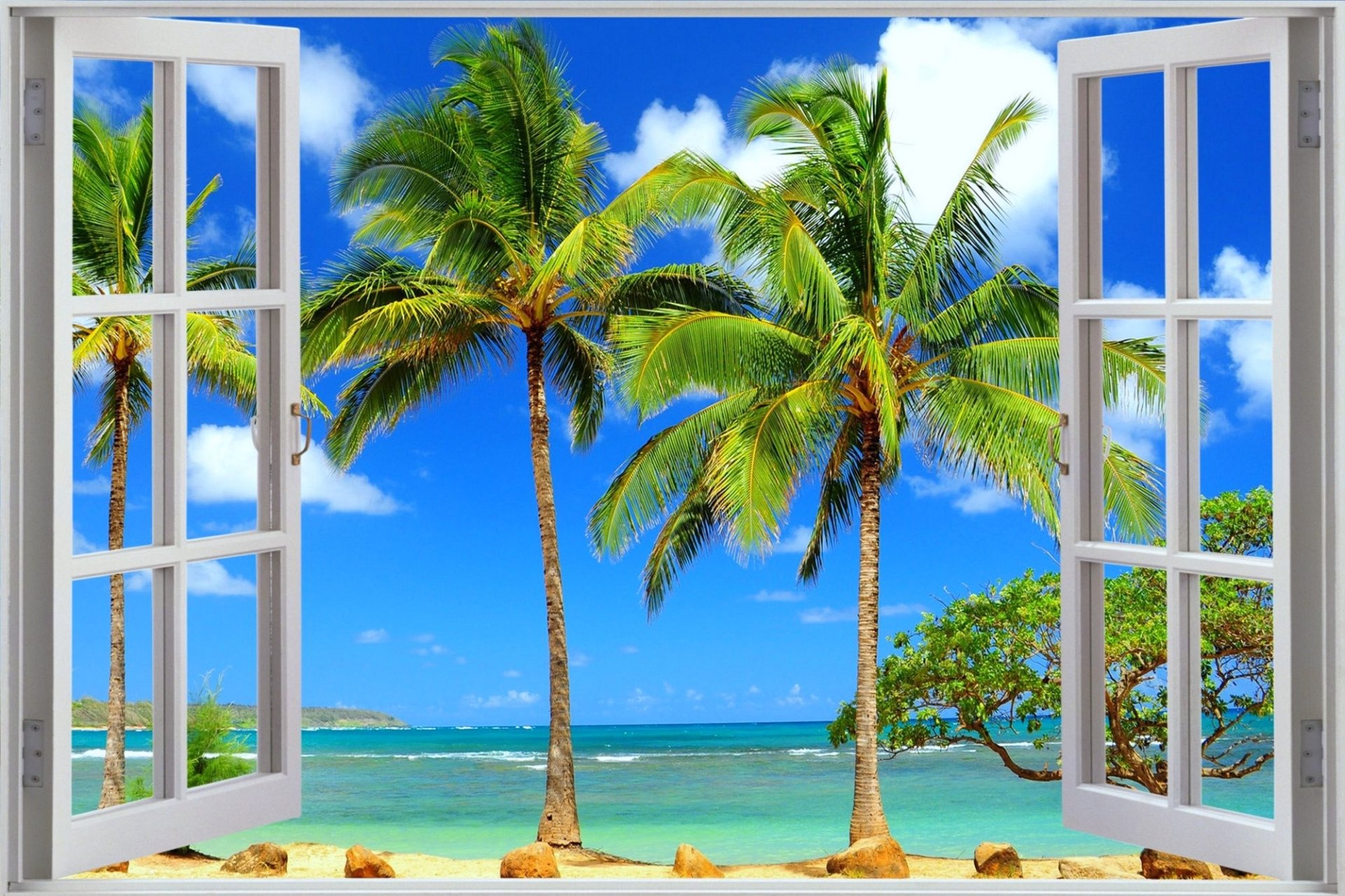 Window To Tropical Beach Full HD Wallpaper And Background Image