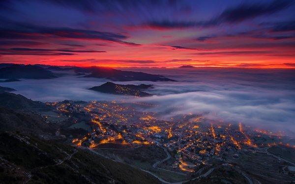 Photography Landscape Spain Berga Catalonia Valley Night Fog Cloud Horizon Sky HD Wallpaper | Background Image