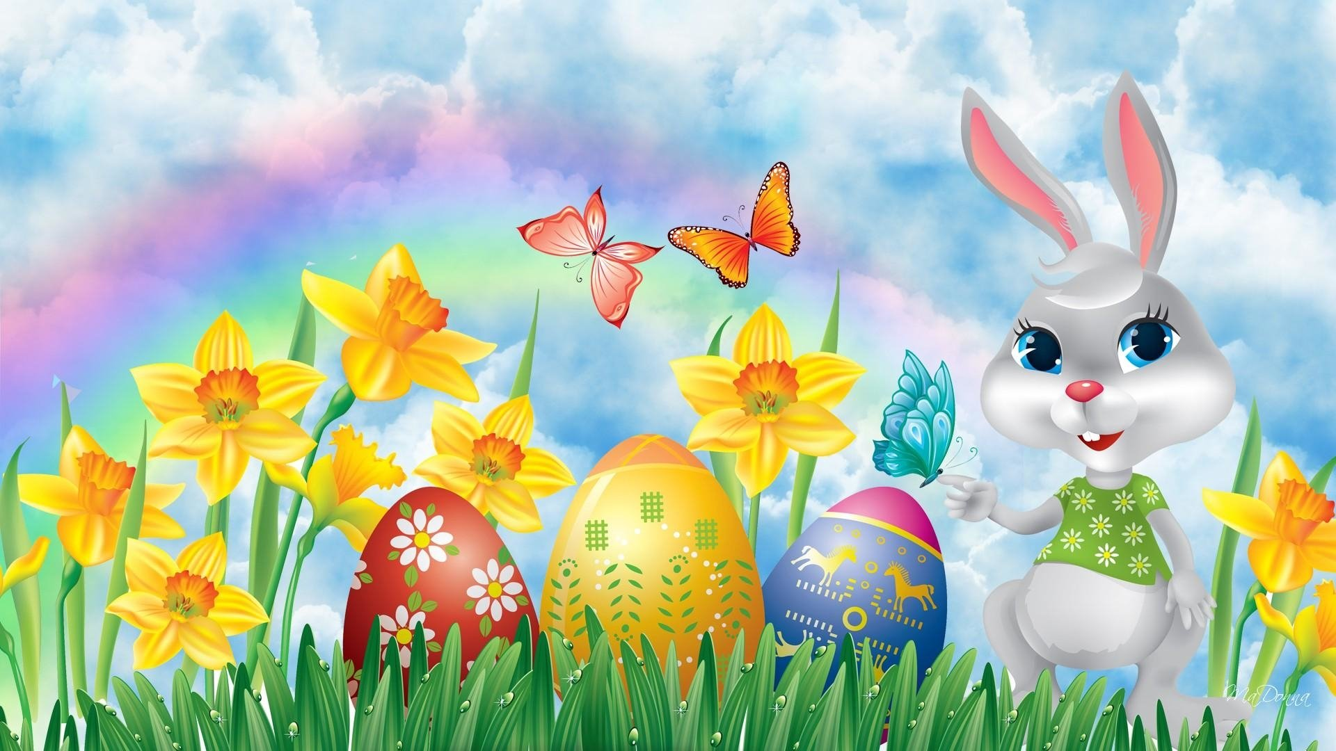 Easter bunny easter eggs and daffodils hd wallpaper - Easter bunny wallpaper ...