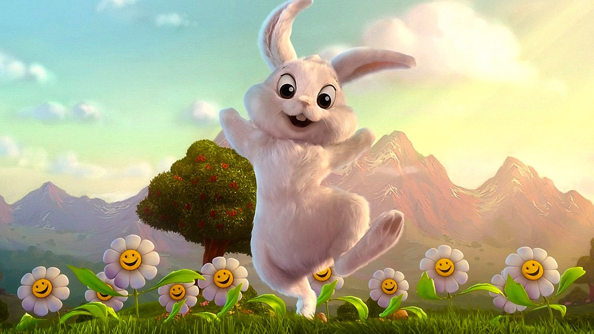 Holiday - Easter  Holiday Bunny White Grass Flower Daisy Tree Wallpaper