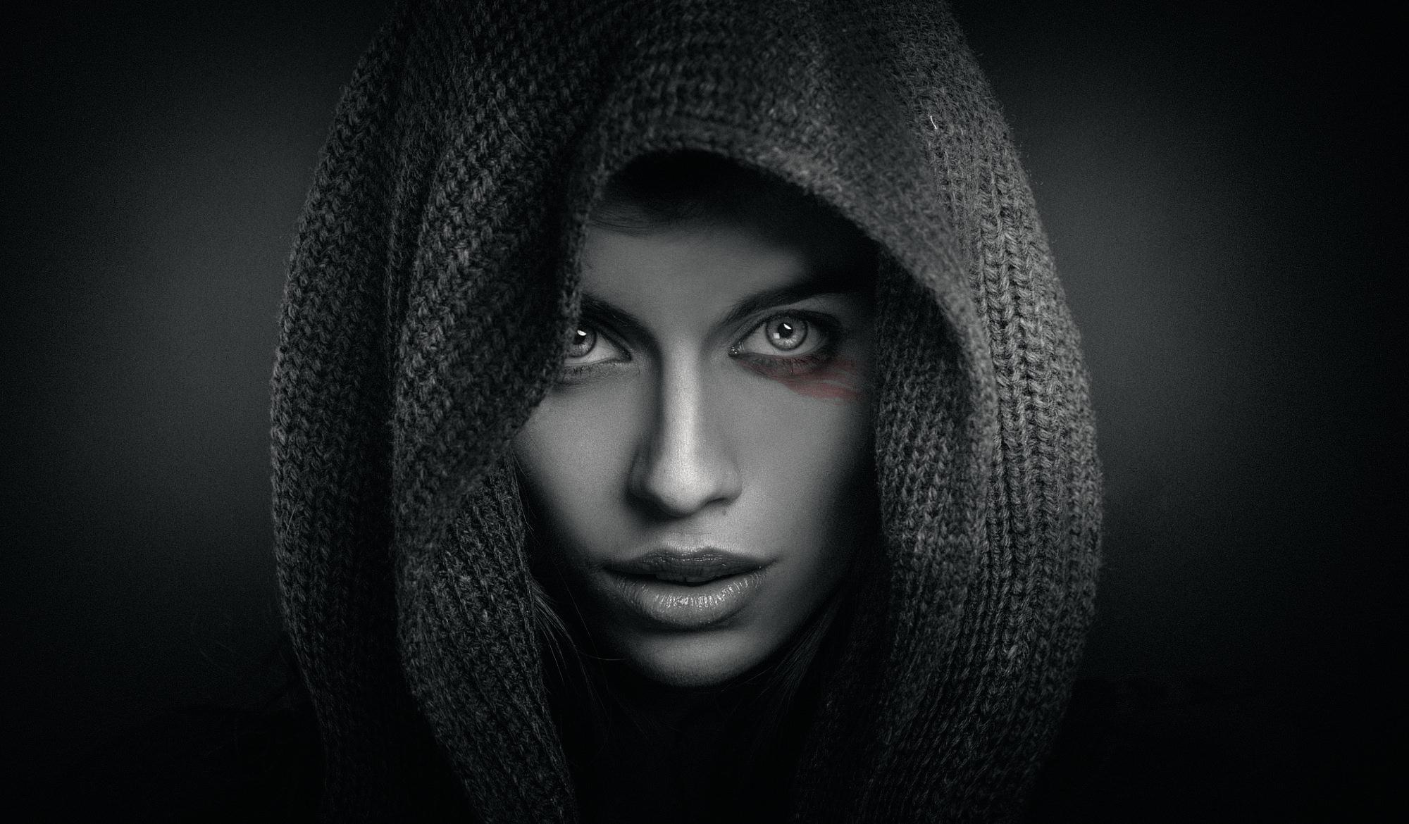 Wallpaper Face Women Model Black Background Looking: Face HD Wallpaper