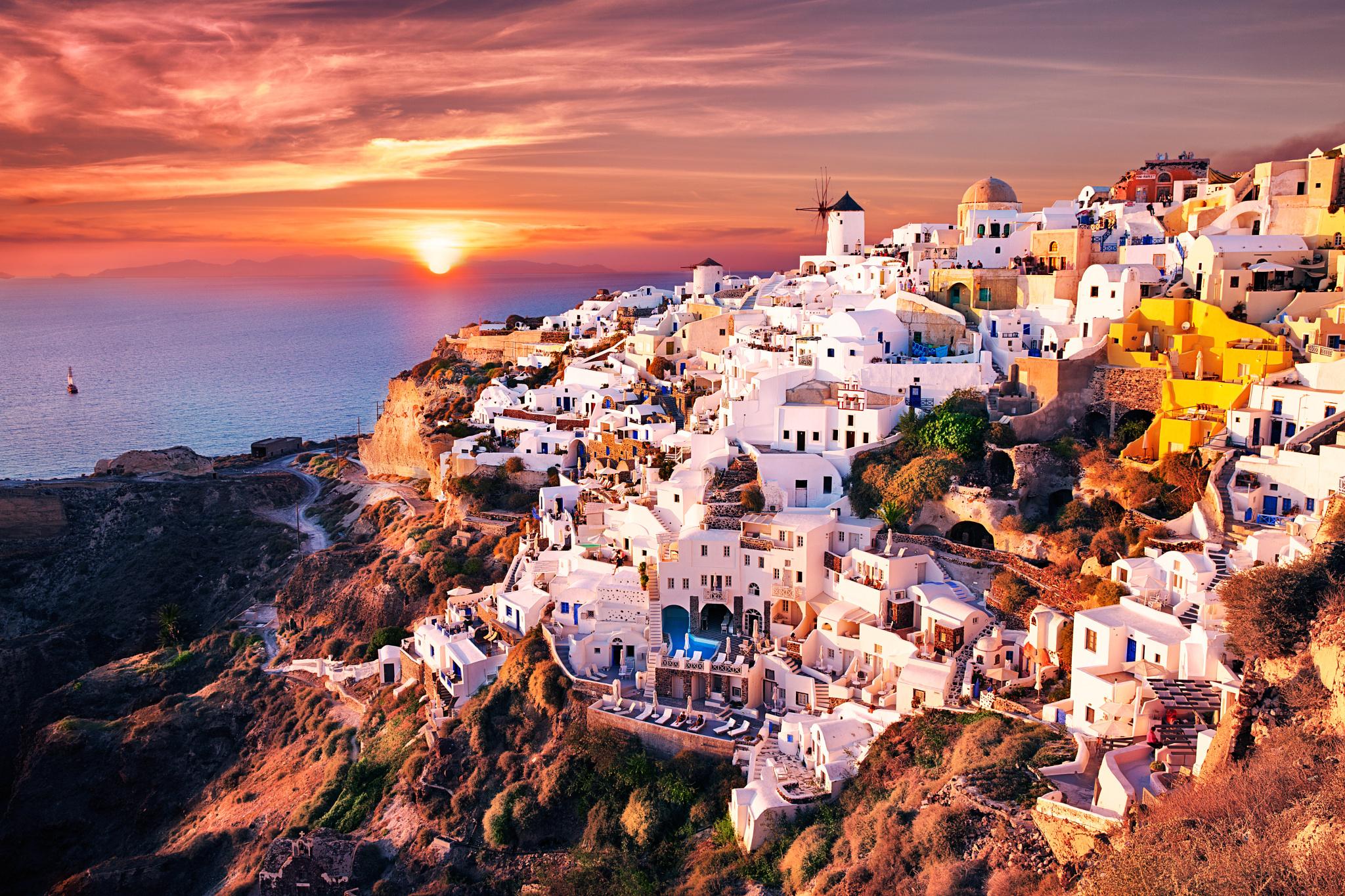 Santorini greece full hd wallpaper and background image for Sfondi spettacolari hd