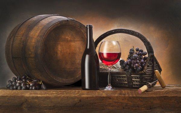 Food Wine Barrel Bottle Glass Grapes Still Life HD Wallpaper | Background Image