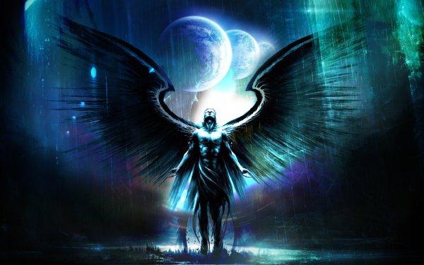Fantaisie Ange Mystical Bleu Sombre Fond d'écran HD | Image