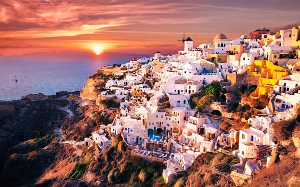 Man Made Santorini Towns Greece Building Architecture Sunset HD Wallpaper | Background Image