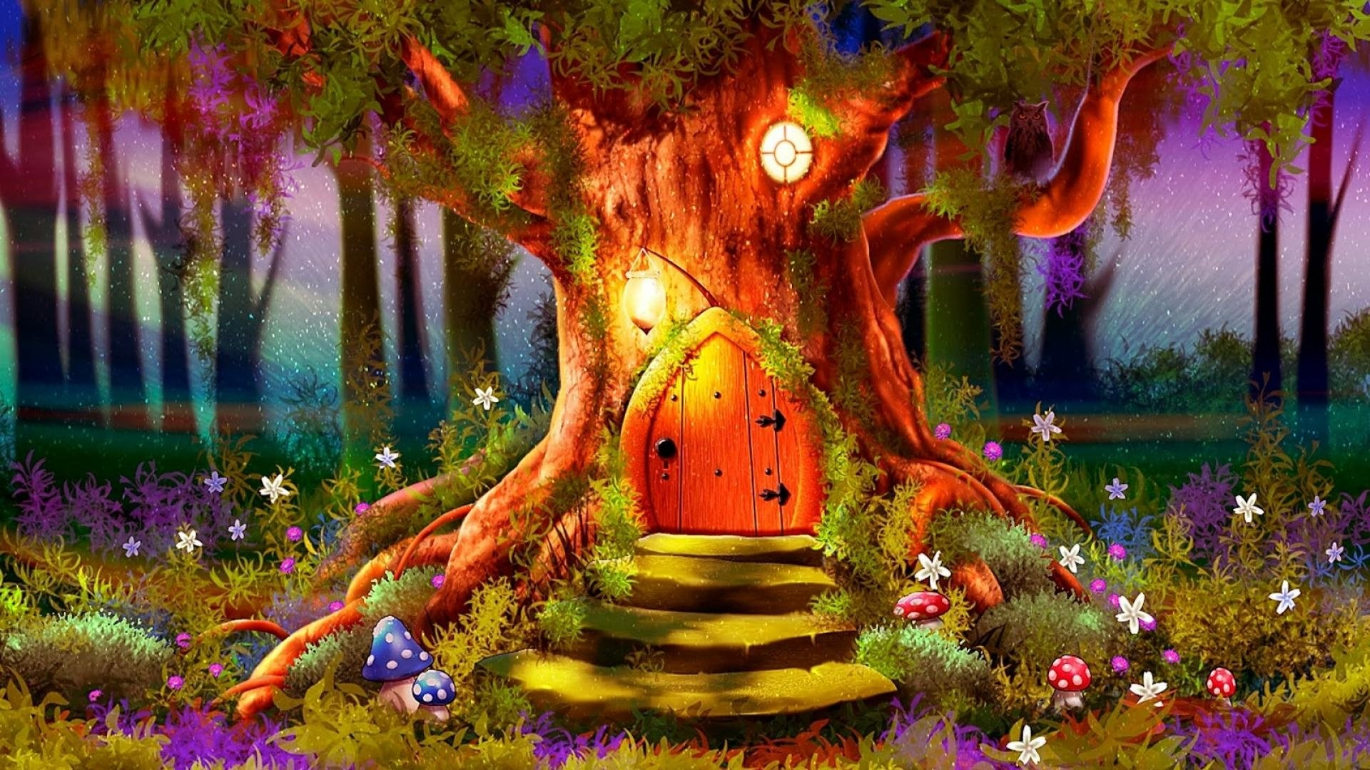 Magic tree full hd wallpaper and background image for Colorful tree house