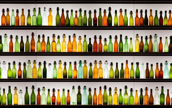 Man Made Bottle Glass Colors Green orange Brown Shelf HD Wallpaper | Background Image