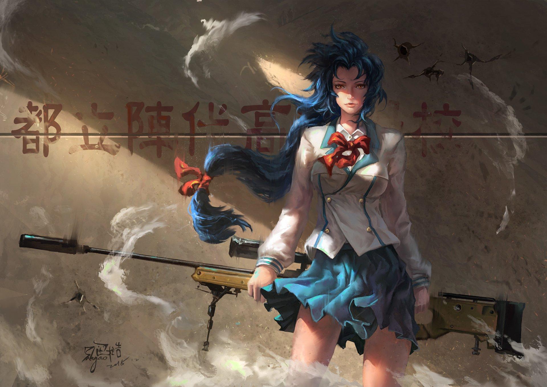 Anime - Full Metal Panic!  Girl School Uniform Skirt Long Hair Red Eyes Blue Hair Sniper Rifle Weapon Wallpaper